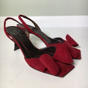 Kate Spade Red Bow Square Toe Suede Kitten Heels
